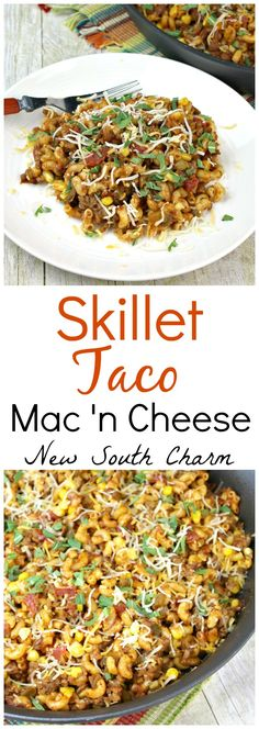 This Skillet Taco Mac and Cheese is a quick and easy dinner idea that is ready in 30 minutes and perfect for busy weeknights.