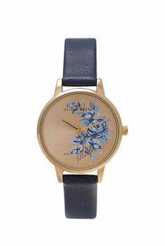 **Olivia Burton Parlour Floral Navy + Gold Midi Watch - New In Bags & Accessories - New In