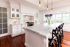 Brisbane Granite and Marble Calacatta Nuvo Transitional White Kitchen