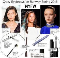 """NYFW-Crazy Eyebrows on Runway Spring 2015"" by kusja ❤ liked on Polyvore"