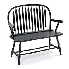 Amazon.com: Carolina Cottage Colonial Windsor Bench, Antique Black: Kitchen & Dining