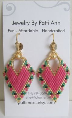 Your place to buy and sell all things handmade Seed Bead Jewelry, Seed Bead Earrings, Leaf Earrings, Beaded Earrings, Seed Beads, Beaded Jewelry, Crochet Earrings, Perler Beads, Jewellery