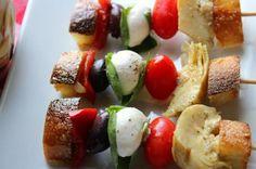 Crouton Caprese Antipasti Kabobs Recipe from 10 Ways to Serve Caprese Salad Slideshow