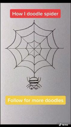 Easy Halloween Drawings, Halloween Doodle, Cute Doodles Drawings, Easy Drawings, Drawing Images For Kids, Spider Web Drawing, Spider Web Craft, Drawing Rocks, Sketch Note