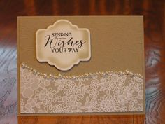 Stampin' Up! ... handmade card ... Love and Lace ... monochromatic kraft .. clean lines ... luv the pearls dividing the two parts of the background panel ...