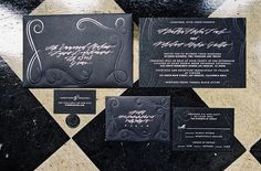 Dramatic Black + Silver Invitations - set the tone for this formal wedding on #SMP:  http://www.stylemepretty.com/2013/01/01/los-angeles-greek-wedding-from-braedon-photography/  Braedon Photography