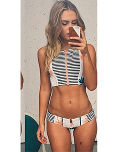038a9ac2d Coconut Palm Stripe Print Zippered Front Swimsuit Two Piece Swimwear