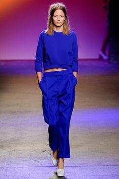 За electric blue и правильный свитшот в сочетании с мужскими штанами.  ICB Spring 2014 Ready-to-Wear Collection Slideshow on Style.com