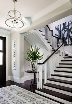 Interior Design Ideas - Home - Interior Design Ideas Benjamin Moore Stonington Gray. Diamond Custom Homes, Inc. Industrial Interiors, Rustic Interiors, Office Inspiration, Design Entrée, Design Styles, Decor Styles, Design Trends, Painted Stairs, Foyer Decorating