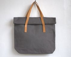 | Tote bag strong cotton fabric book bag with leather handles |