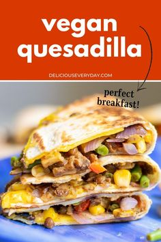 This Vegan Quesadilla recipe is packed with savory vegetables and cooked to perfection! It's Mexican-inspired and makes for a hearty breakfast. Vegetarian Soup, Vegetarian Recipes Dinner, Vegan Dinners, Vegan Quesadilla, Quesadilla Recipes, Veggie Meals, Veggie Recipes, Bhg Recipes, Easy Vegan Dinner