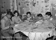 Time For Study | 1940 A group of African American tenant farmer children studying their lessons by lamplight. Notice the newspapers covering the tattered table cloth, as well as plastered on the wall for insulation (to block drafts). Creek County, Oklahoma, 1940. Vintage African American photography courtesy of Black History Album, The Way We Were. Follow Them On Twitter @blackhistoryalb