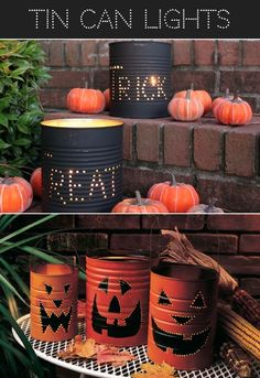 Tin Can Halloween Lights....could use pumpkin carving kit templates? Would be cute as fork and spoon holders
