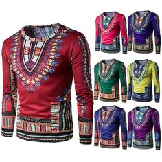 Mens Dashiki Traditional Thailand Style African Print Summer T-Shirt Blouse Tops African Fashion Designers, African Men Fashion, Mens Fashion, Fashion Trends, Fashion Styles, Fashion Outfits, Style Fashion, Fashion Ideas, Graphic T Shirts