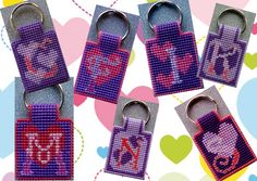 Keychain 'hearts' made on plastic canvas