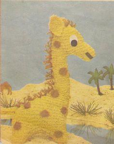 vintage knitting pattern giraffe