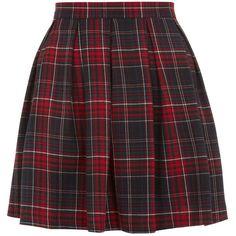 Red Tartan Check Skater Skirt by None, via Polyvore