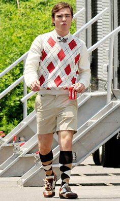 "Only Chuck Bass can carry this look off. Ed Westwick filming ""Gossip Girl"" on June 20, 2008 in The Hamptons, New York."
