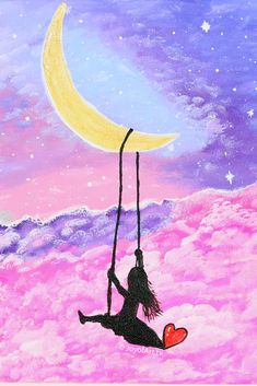 """""""One Fine Day"""" Galaxy Moonlight with Girl on Swing scenery Easy acrylic painting tutorial by Joy of Art. Galaxy Drawings, Bff Drawings, Cool Art Drawings, Colorful Drawings, Easy Drawings, Swing Painting, Painting Of Girl, Diy Painting, Pastel Galaxy"""