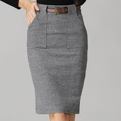 Vintag wool skirts for Women high waist Skirt front pencil Split with frames 2016 for Women fashion office wear Midi Skirt Women – Work Fashion Office Fashion Women, Work Fashion, Fashion Outfits, Business Casual Dresses, Casual Skirt Outfits, Beige Outfit, Office Skirt, Types Of Skirts, Work Skirts