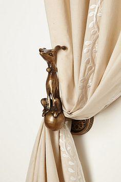 Fun Chloe Dog Curtain Tieback for the window curtains...