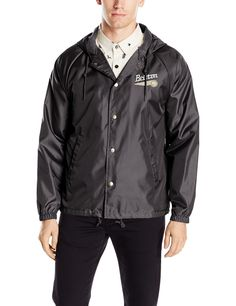 Brixton Men's Maverick Standard Fit Hooded Windbreaker Jacket, Black, X-Large