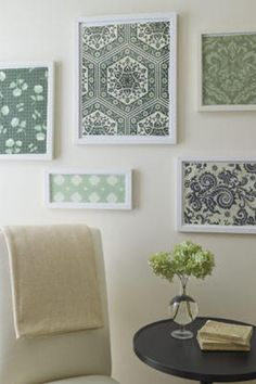 Lori - What about coordinating fabrics from quilt (behind glass) then framed Englebright classics?  Could then switch them out as the mood/season suits...Bath maybe???