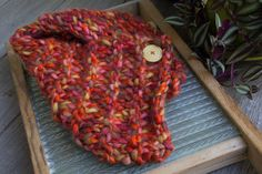 Chunky Hand knit Cowl Scarf with Vintage Button Closure, 50% soft wool blend open ended neck warmer, vibrant Aurora red color, ready to ship by DoubleEweBee on Etsy