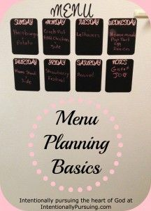 Menu Planning Basics on IntentionallyPursuing.com
