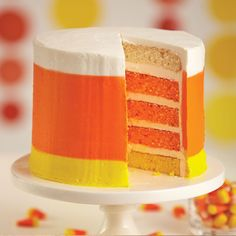 Wilton Easy Layers Cake in Candy Corn Colors - candycorn recipes - Halloween cakes - pretty Fall cake recipe - how to make a layer cake - easy cakes - soft moist cake