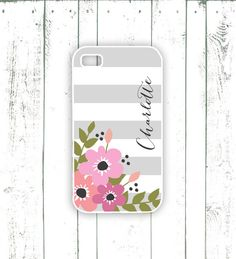 Flower iPhone Case  Striped iPhone Case with by MooseberryCases, $18.00