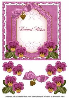 Cerise Pansy Belated Wishes Fancy 7in Decoupage Topper on Craftsuprint - Add To Basket!
