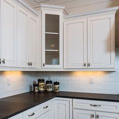 Honed granite counters & subway tile