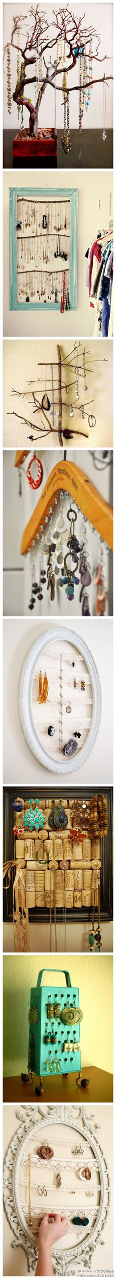 jewelry holder ideas...I like the wine cork one the most!