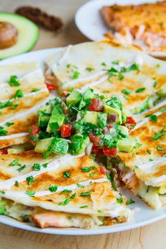 Chipotle Lime Salmon and Avocado Salsa Quesadillas from @ClosetCooking