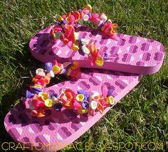 Girl's camp craft ... balloon flip flops.