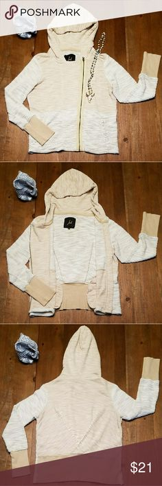 """💕*HP*💕Jack by BB Dakota - Zip Up Moto Hoodie So cute and full of details! This cream and white-blend, soft textured sweater features an off center moto style zipper and pockets. There is a stylish crisscross detail in the fabric at the back of the sweater. Bring on fall with this fashion forward hoodie! Excellent condition. 100% Cotton  Measurememts taken with item laying flat: Armpit to armpit: 19.5"""" Length: 21"""" Sleeve: 24"""" Shoulders: 16.5"""" Jack by BB Dakota Tops Sweatshirts & Hoodies"""