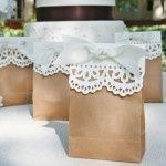 Attach doilies to brown paper bags for a rustic yet vintage style favor bag.