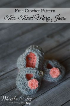 Free Crochet Pattern - Two-Toned Little Dot Mary Janes | Whistle and Ivy