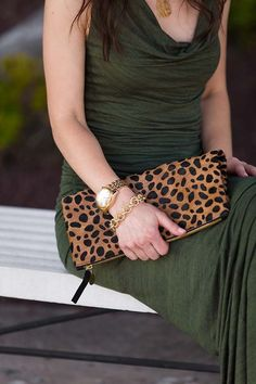 leopard clutch // gold jewelry // LipglossandLabels.com