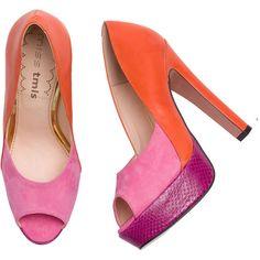 Orange & Pink Colour Block Peep Toe Pumps ❤ liked on Polyvore