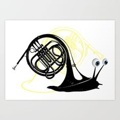 Just moved. (French Horn) Art Print by Bananabread. Worldwide shipping available at Society6.com. Just one of millions of high quality products available.