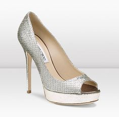 "Jimmy Choo Crown Pump in Champagne Size 7 *Glittering, textured fabric styles a peep-toe pump lifted by a lofty wrapped heel and platform. * Approx. heel height: 5"" with 1"" platform (comparable to a 4"" heel)."
