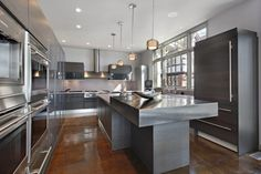 metallic finish kitchen