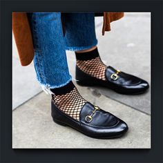 • f i s h n e t s • #fishnets #loafers #ontrends  Who's rocking the latest trend this season, fishnets?