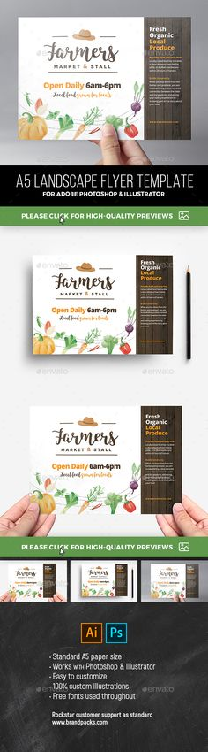 Farmers Market Flyer Template PSD, AI #design