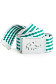 645b30face1a62 Lacoste Men s Striped Web Belt with Dye Cut Crocodile   Belts Lacoste Para  Hombres
