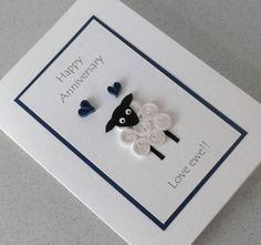 Quilled+sheep+anniversary+card+suitable+by+PaperDaisyCardDesign,+£5.20