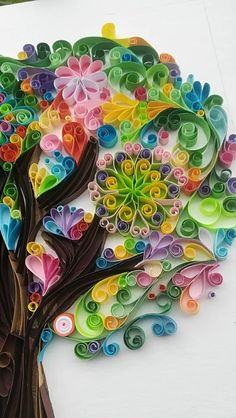 This is a tree of daylight made by paper with the quilling technique. I love to work with paper and diferent colors..This is a special gift to someone special, like you! It is without frame and the size is 48x31cm ( 19x12,20inches) If you need more information you can contact to me by
