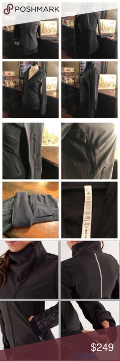 """Lululemon Draft Dodger Jacket-Black, Size 8 Lululemon Draft Dodger Jacket-Black, Size 8 This rare Lululemon Draft Dodger jacket has multiple pockets, zipper vents at the sides, reflective details, """"cuffins"""" and thumb holes at wrists. Wear this for your next fab outdoor activity.   New without tags. Excellent condition! ☺️  Release date, 12/2012 Length- 25.5 inches in front; 27.5 inches in back Bust- 37 inches (18.5 inches across) Sleeve- 27.5 inches from shoulder seam to wrist Material…"""